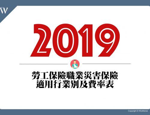 2019年勞工保險職業災害保險適用行業別及費率表